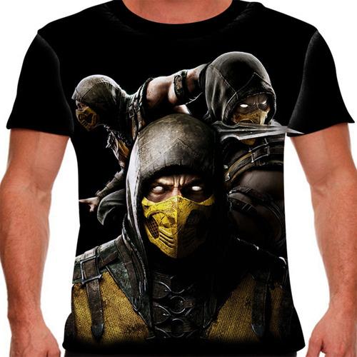 camiseta mortal kombat x scorpion trinity masculina