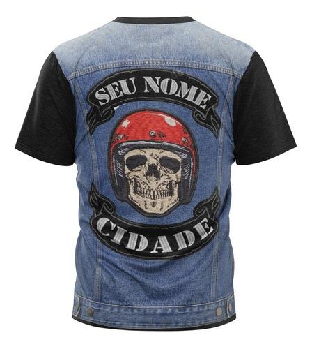 camiseta moto clube colete jaqueta jeans caveira masculino 2