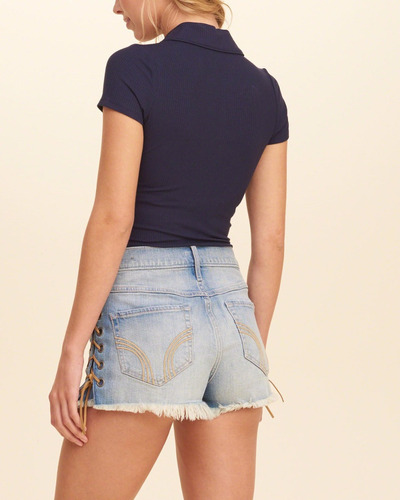 camiseta mujer hollister medium azul original