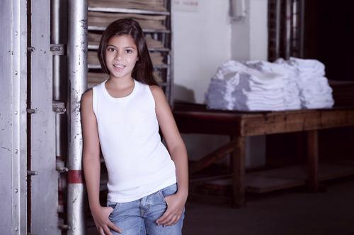 camiseta musculosa niña con picot en escote - tres ases