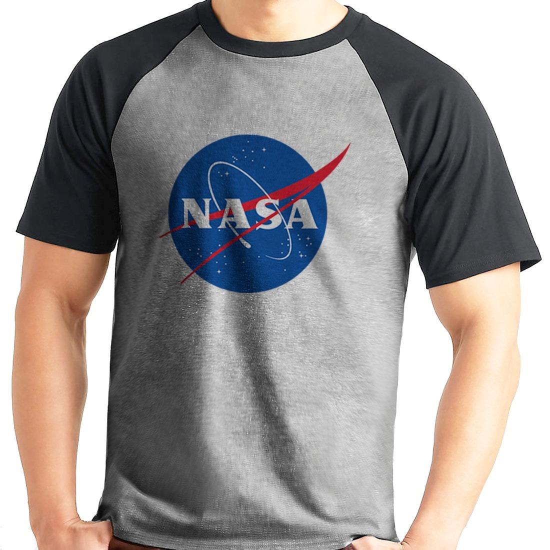 a03ba83d5 camiseta nasa geek nerd cosplay raglan mescla curta. Carregando zoom.