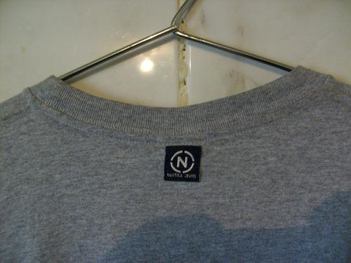 camiseta nautica jeans company medium cinza  xg 70cm x 58cm