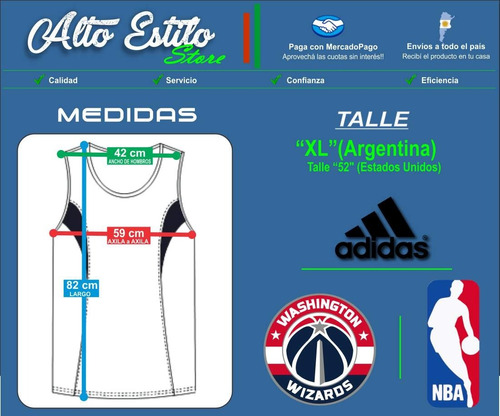 camiseta nba adidas washington wizards john wall tall xl imp