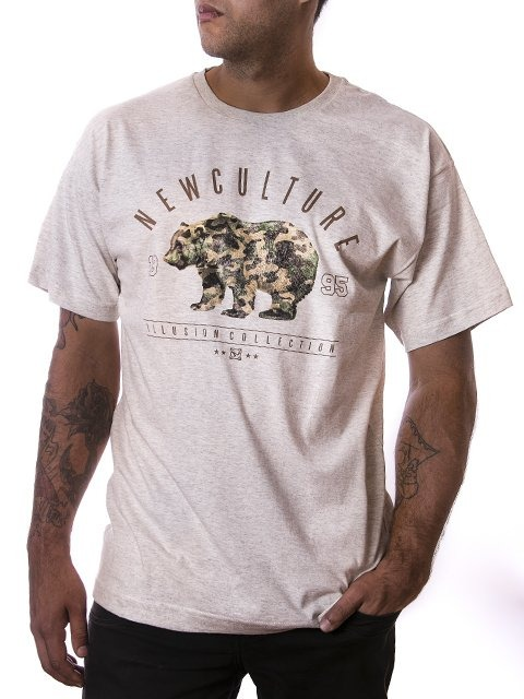 Camiseta New Skateboard Bear Mescla C - R  69 e7041ee5bd6