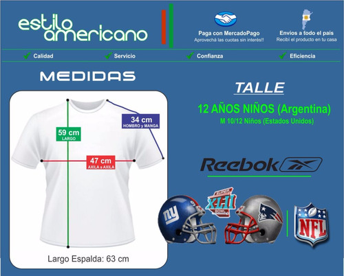 camiseta nfl reebok superbowl 42 patriots giants talle12niño