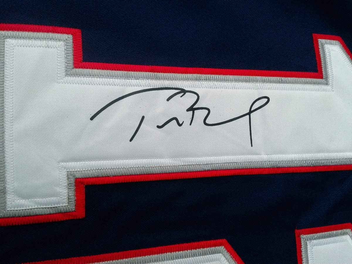 76543911f8f01 camiseta nfl tom brady con autografo new england patriots xl. Cargando zoom.