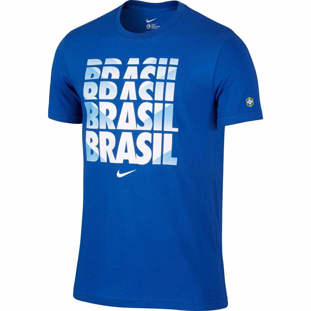 Camiseta Nike Brasil Core Azul Seleção Brasileira De  129 c27f2102cc919