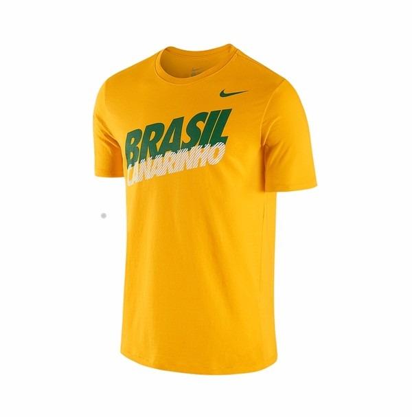 13f5818248 Camiseta Nike Cbf Brasil Core Type Amarela Torcedor Seleção - R  59 ...