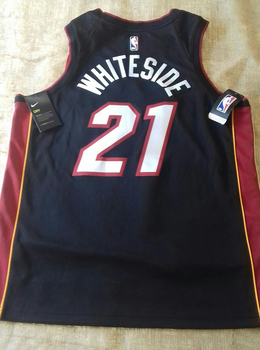 the best attitude 46c51 510bd Camiseta Nike Nba Negra De Los Miami Heat, Whiteside 21