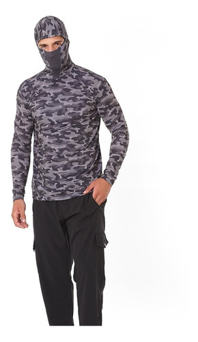 camiseta ninja camuflada urbano uv50+ para pesca airsoft