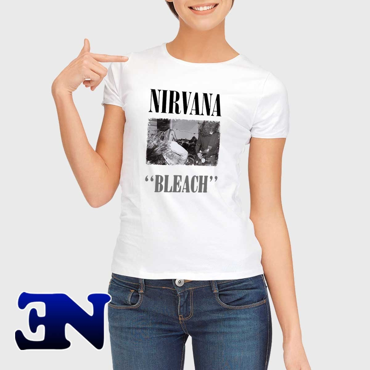 09ad4bab0 Camiseta Nirvana Bleach Álbum 1989 Rock In Roll Baby Look