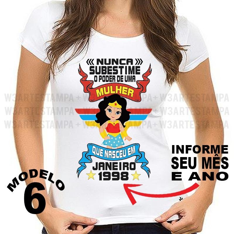 camiseta nunca subestime uma mulher maravilha personalizada. Carregando  zoom. 9b3db775d26
