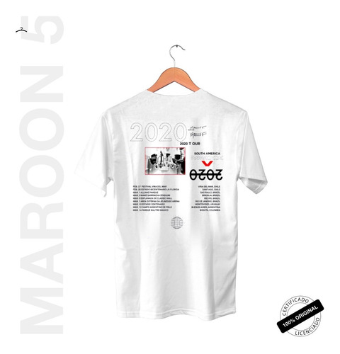 camiseta oficial maroon 5 world tour 2020