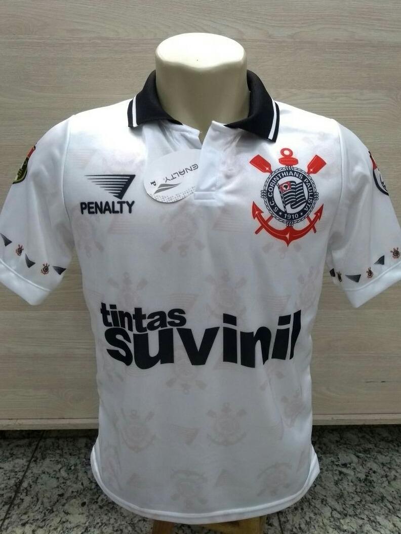 Camiseta Oficial Retro Corinthians Suvinil (1995) - R  60 a5e59dddf0f7c