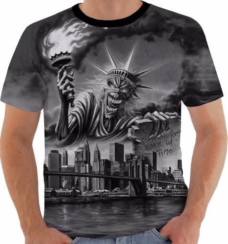 camiseta ou baby look ou regata iron maiden somewhere ny pb