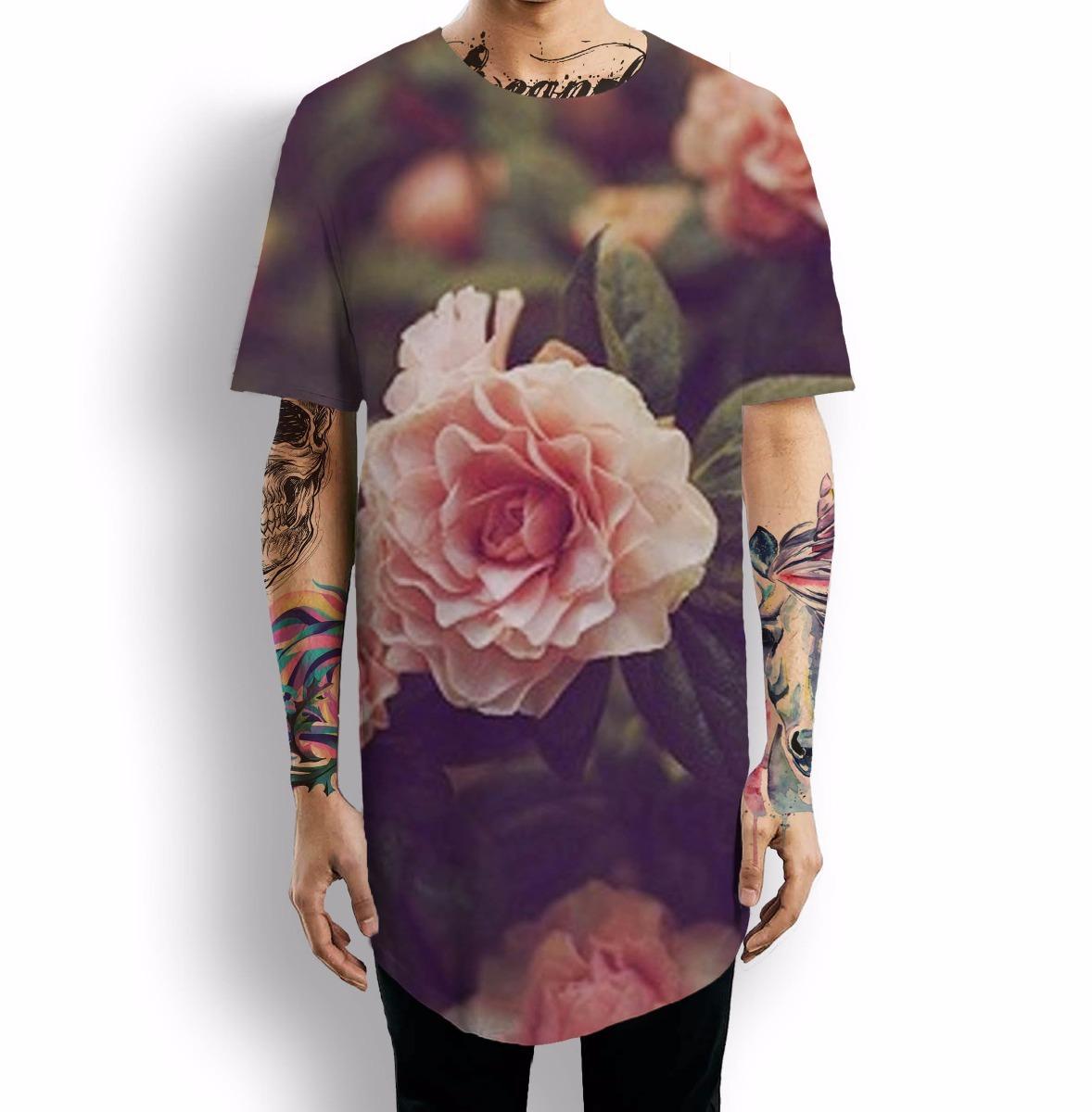 Camiseta Oversized Floral Flor Primavera Rosas Spring Tumblr R