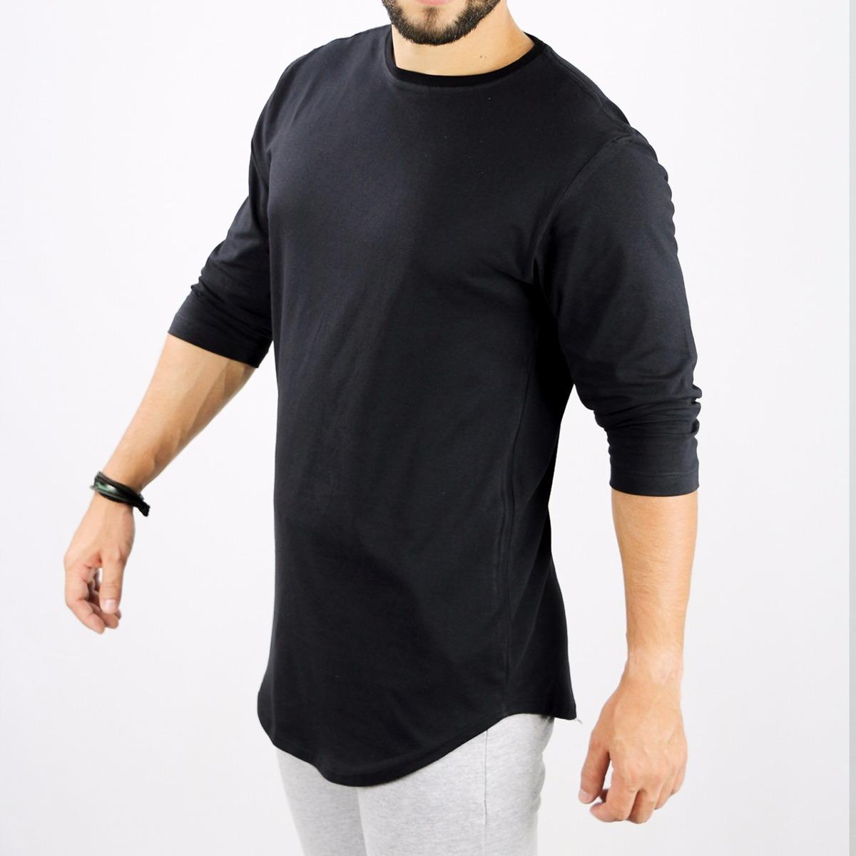 caabed632 camiseta oversized longline redonda swag manga 3 4 algodão. Carregando zoom.