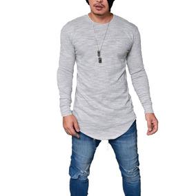 07a90a0284 Camiseta Long Line Manga Longa - Camisetas Masculino no Mercado Livre Brasil