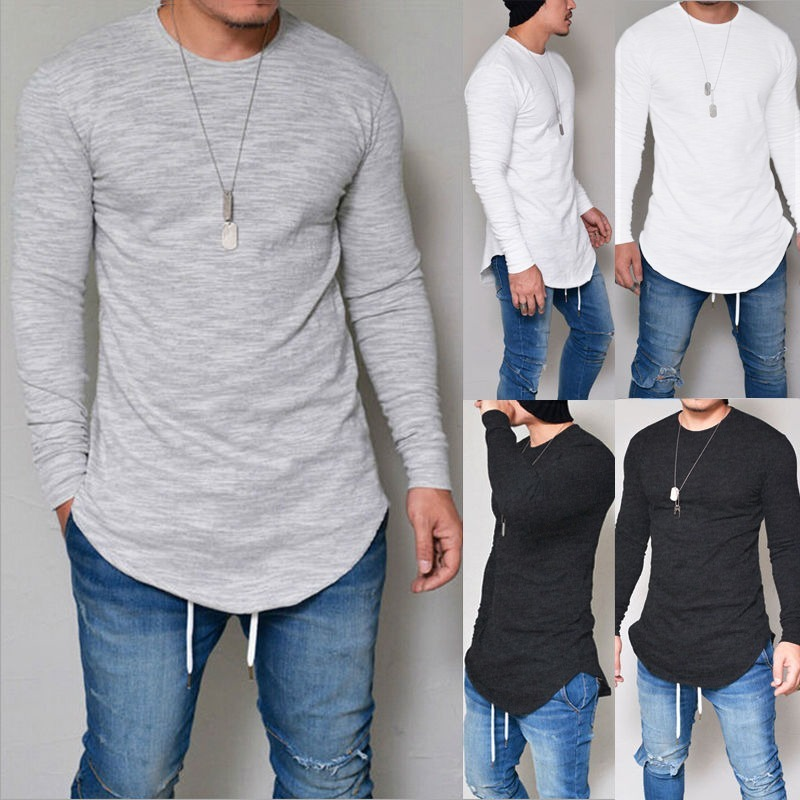 6885cd8a5 camiseta oversized swag longline camisa manga longa algodão. Carregando zoom .