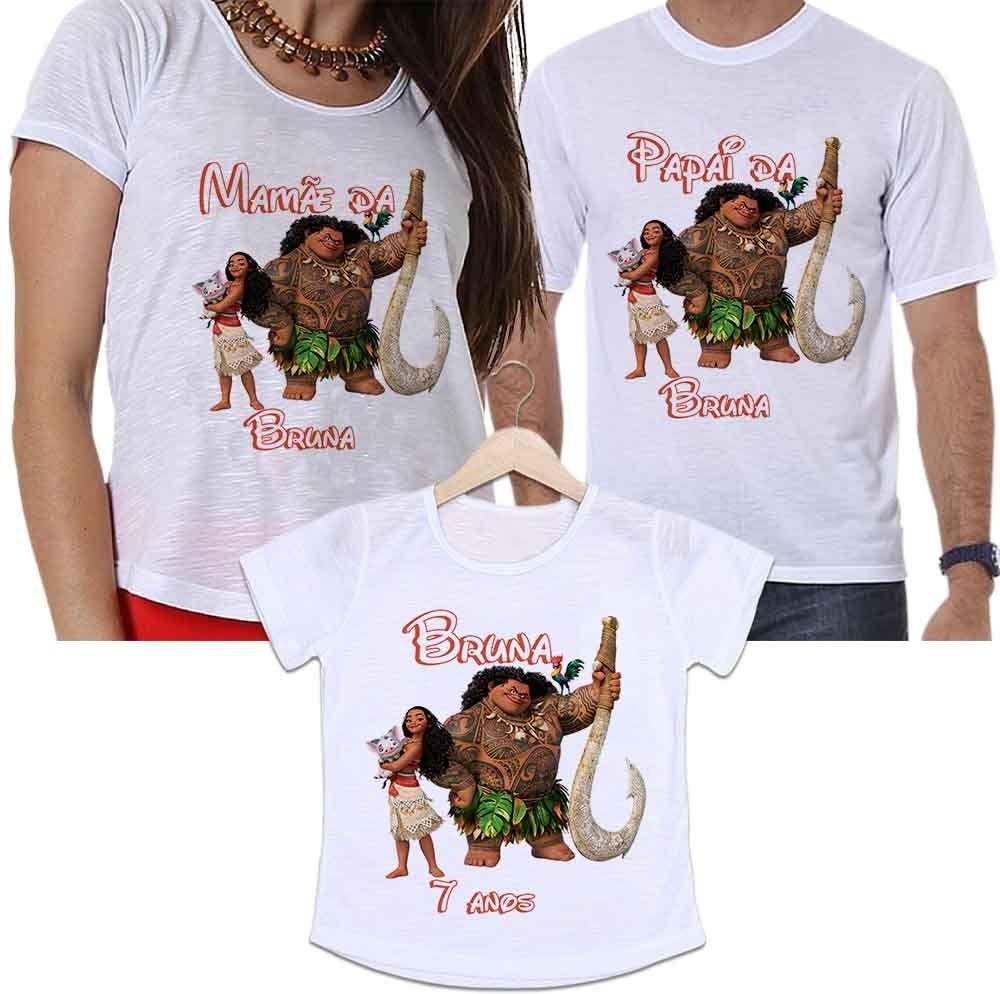 a9c76e5580c44e Camiseta Pai, Mãe E Filha Aniversário Personalizada Moana
