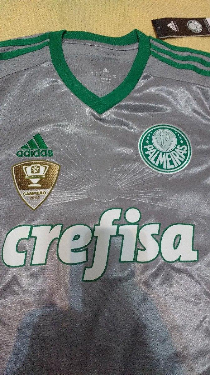 camiseta palmeiras prata 100% adidas campeão brasileiro 2016. Carregando  zoom. a85f099a33d31