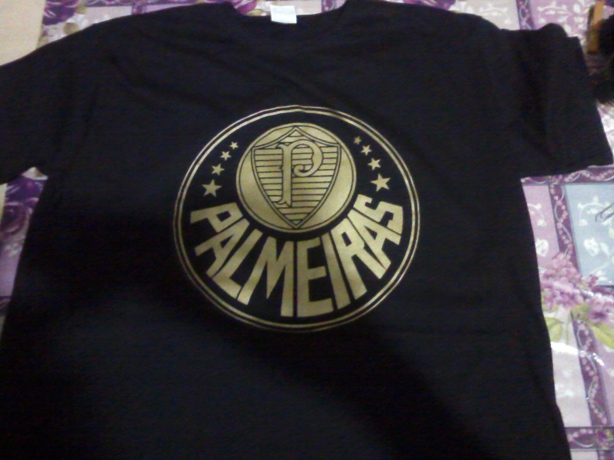 64edc372402c3 Camiseta Palmeiras - Preta - Linha Ouro - Silk Dourado Alg - R  15 ...
