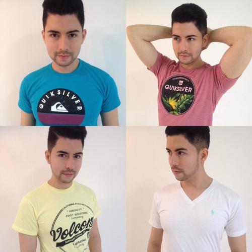 camiseta para caballero cuello en v y redondo hombre variada