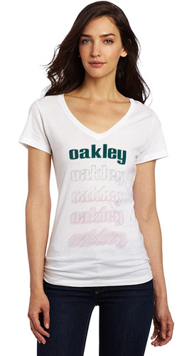 camiseta para damas, marca oakley, modelo blur blanco