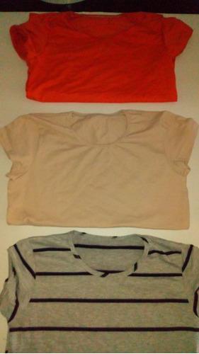 camiseta para mujer , algodon licrado talla s,m,l  x 3 und