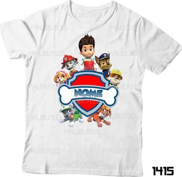 abff568d0 Camiseta Patrulha Canina Infantil Chase Personalizada Nome - R  29 ...