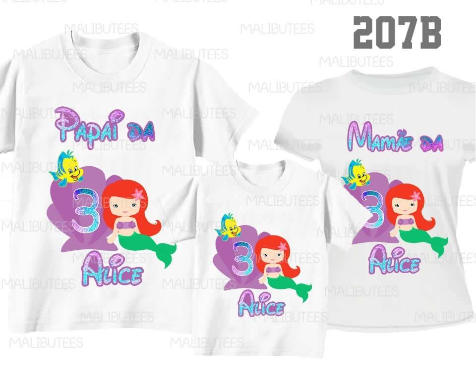 460d37fe0 camiseta pequena sereia ariel aniversario kit c 3 ref207b. Carregando zoom.