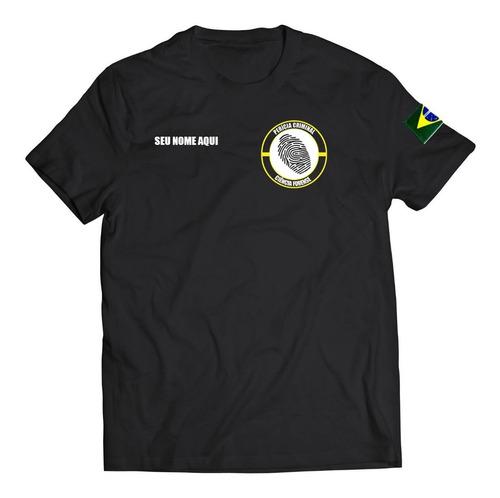 camiseta perícia crimimal com seu nome personalizado