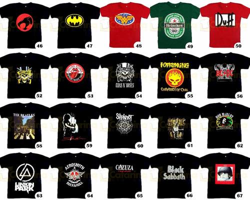 camiseta personagem banda de rock games super heróis