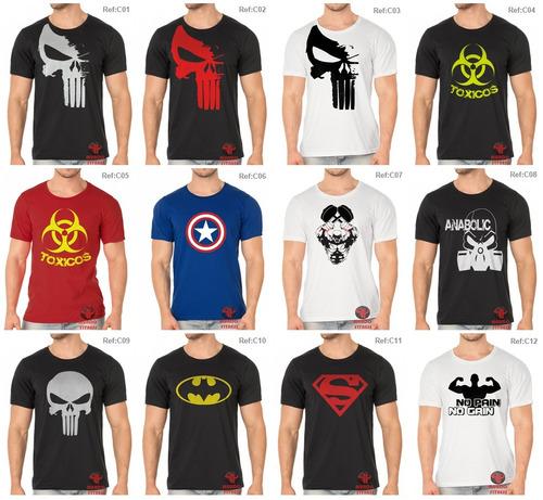 camiseta personagem games super heróis algodão