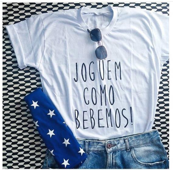 Camiseta Personalizada Criativa Joguem Como Bebemos! - R  23 1107cdfcdde55