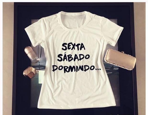Camiseta Personalizada Criativa Sexta Sábado Dormindo - R  25 8c3d534ad6b40
