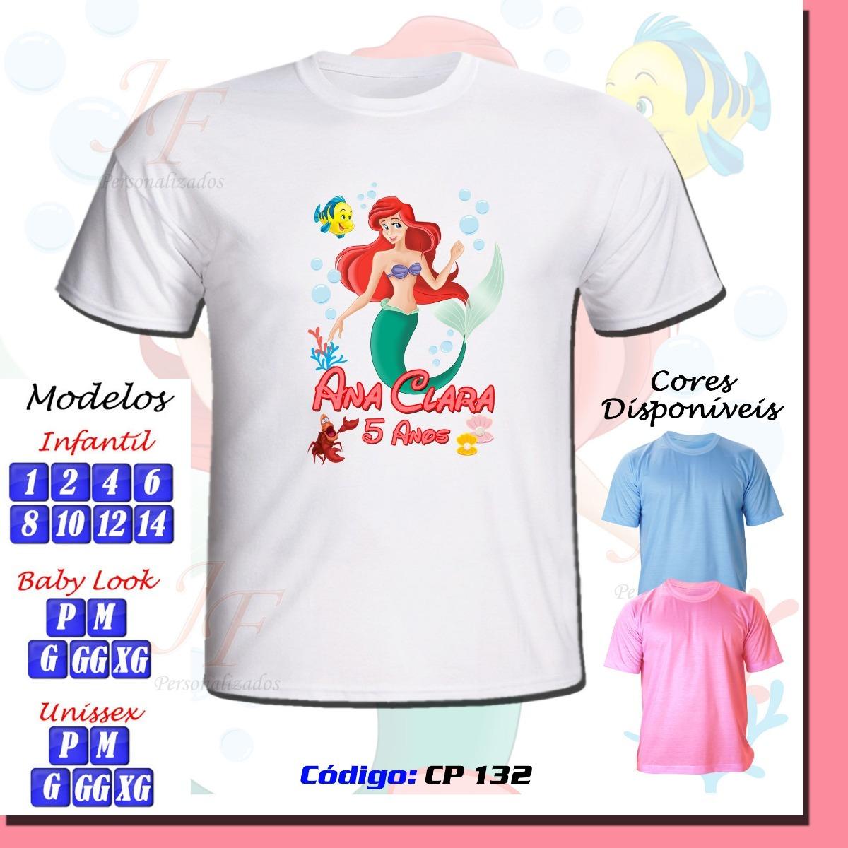 77d3ec776 camiseta personalizada pequena sereia ariel adulto infantil. Carregando  zoom.