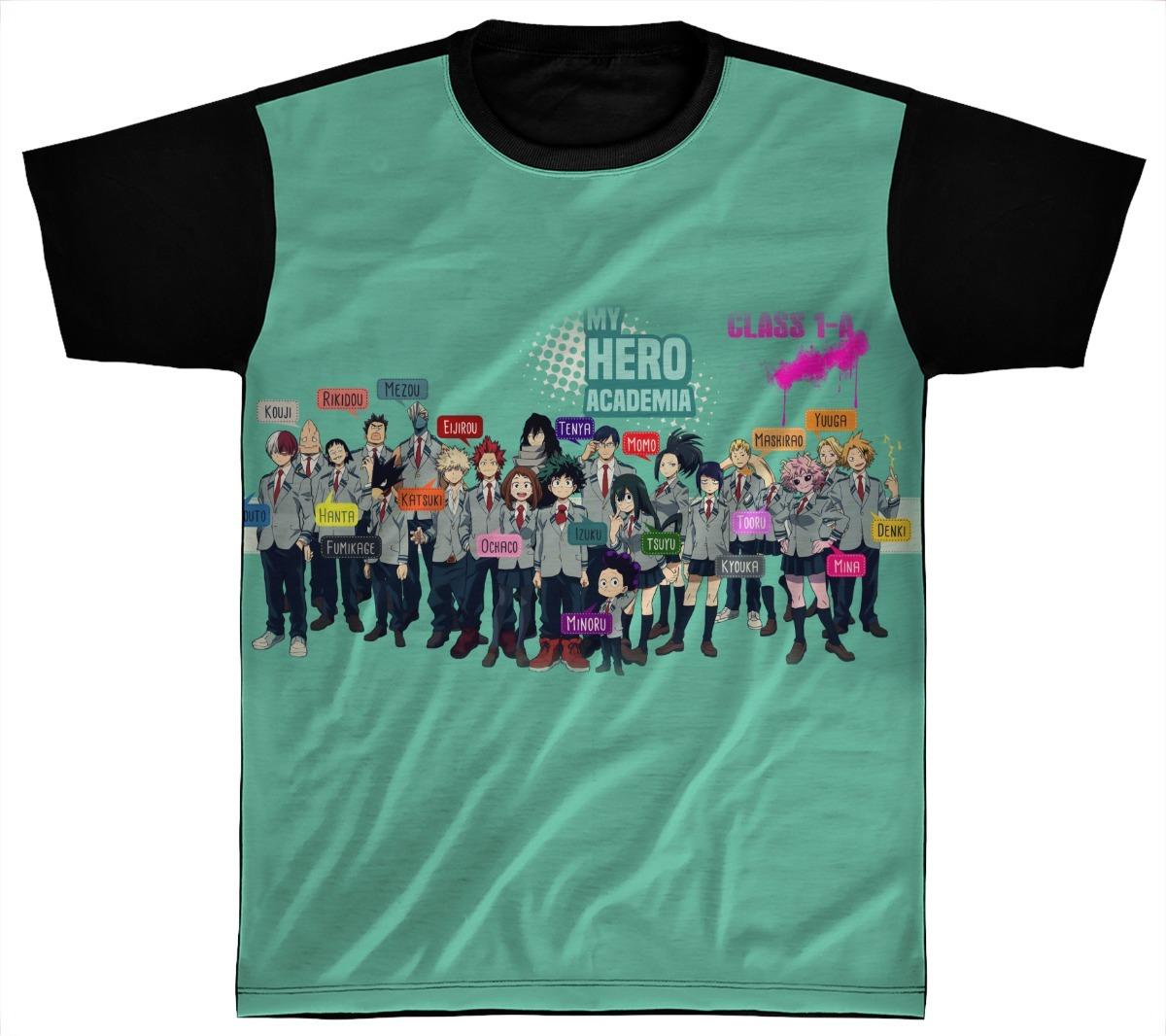 c7a64459a camiseta personalizada preta boku no hero academia 07. Carregando zoom.