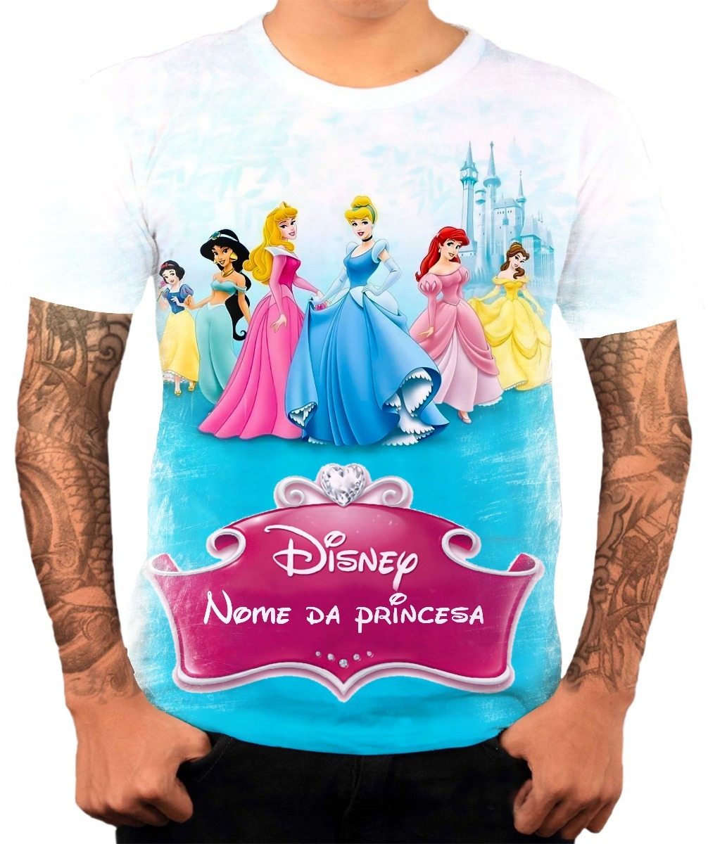 a894587d8 camiseta personalizada princesas festa infantil nome hd 1. Carregando zoom.
