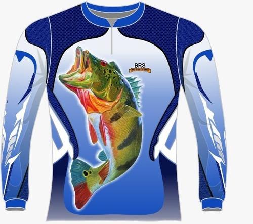camiseta pesca azul tucunaré 01 dry fit caçadores brs