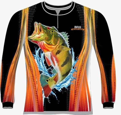 camiseta pesca preta tucunaré dry fit caçadores brs