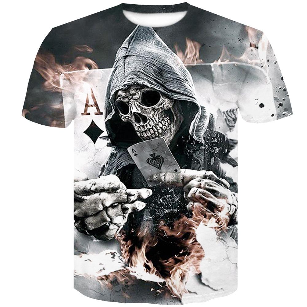 5db1aa129e camiseta poliéster manga corta hombre cuello redondo cráneo. Cargando zoom.