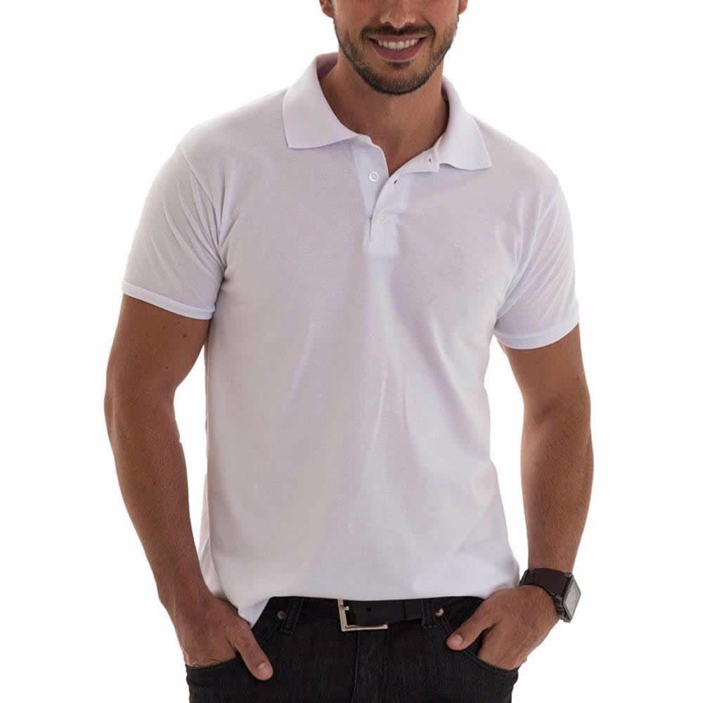 camiseta polo branca lisa sem bordado promoção. Carregando zoom. 97410f1e8b59f