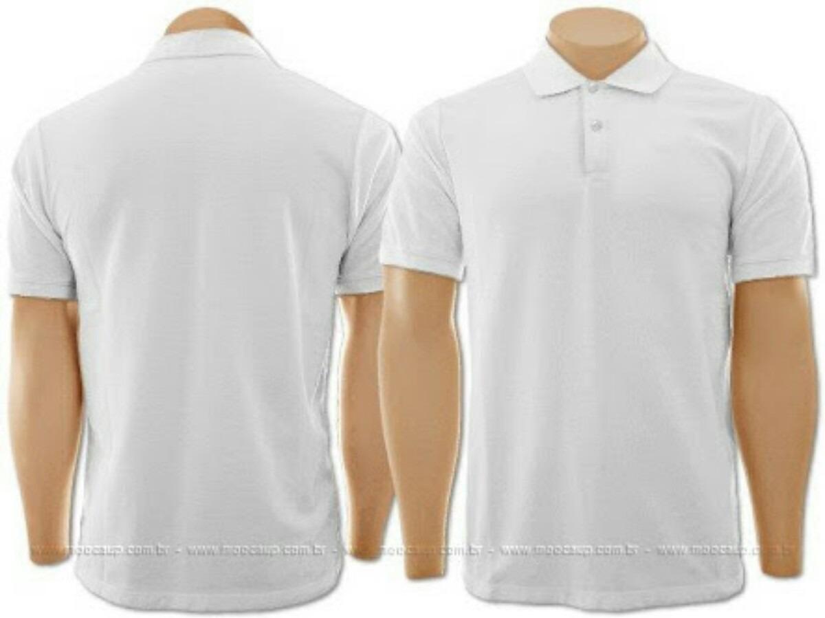 dfecd18795 Camiseta Polo Branca Malha Fria - R  22