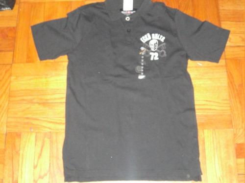camiseta polo ecko unltd medium bordado negra ( 687
