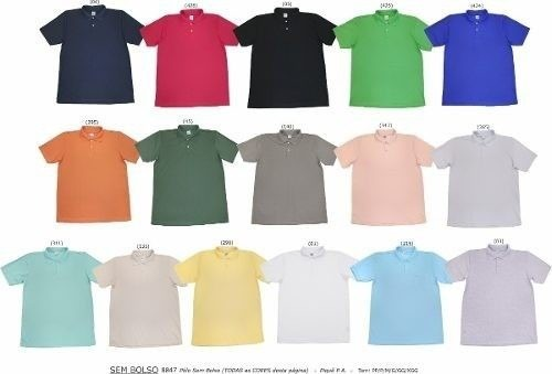 Camiseta Polo Em Piquet Varias Cores Do P Ao Gg Masculina - R  36 2a7b7de320563