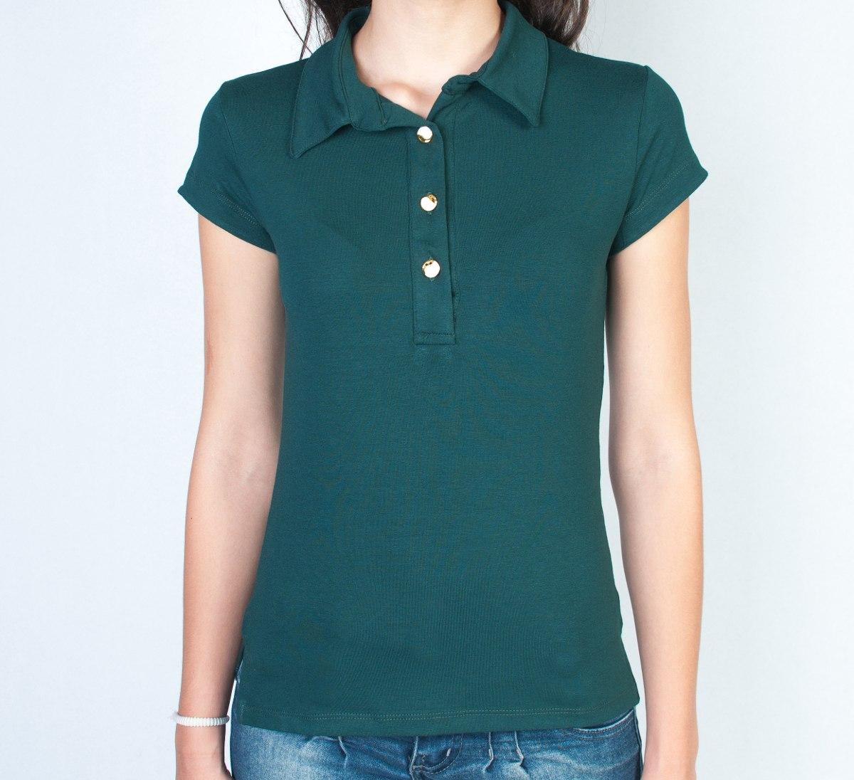 255c6f15ed camiseta polo feminina - 3 botões. Carregando zoom.