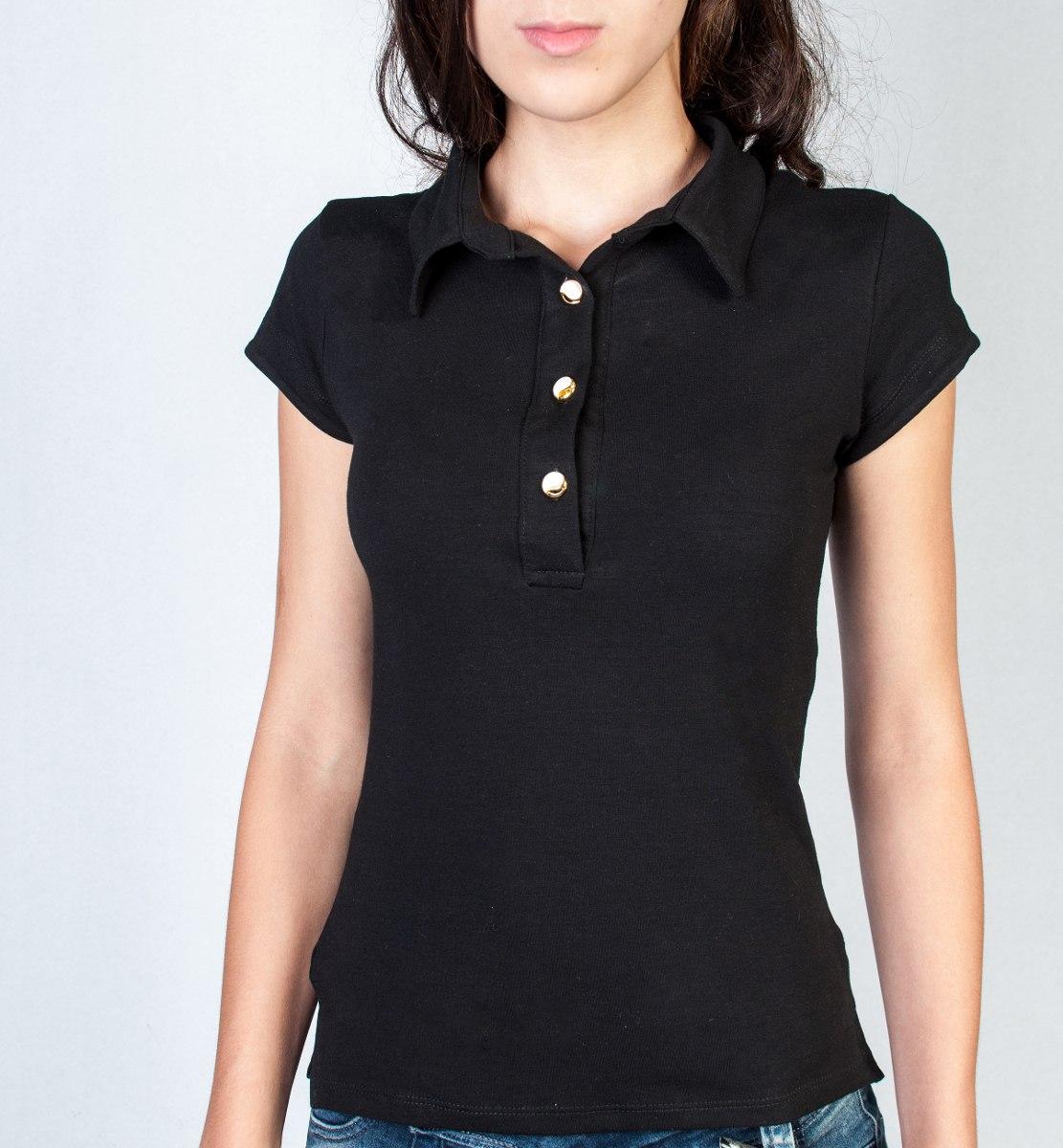fafa887b49e7b Camiseta Polo Feminina - 3 Botões Cor Preto