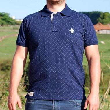 Camiseta Polo Granfino Sacudido s - Azul E Cinza - R  120 75c612703433c