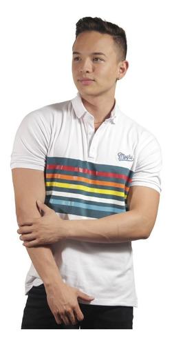 camiseta polo hombre manga corta slim fit blanco marfil pari